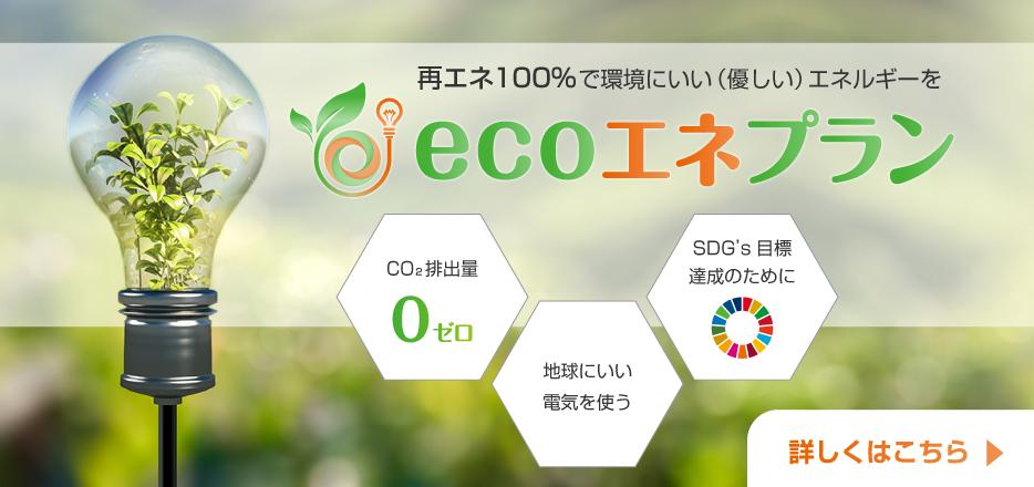 再エネ100%で環境にいい(優しい)エネルギーを ecoエネプラン